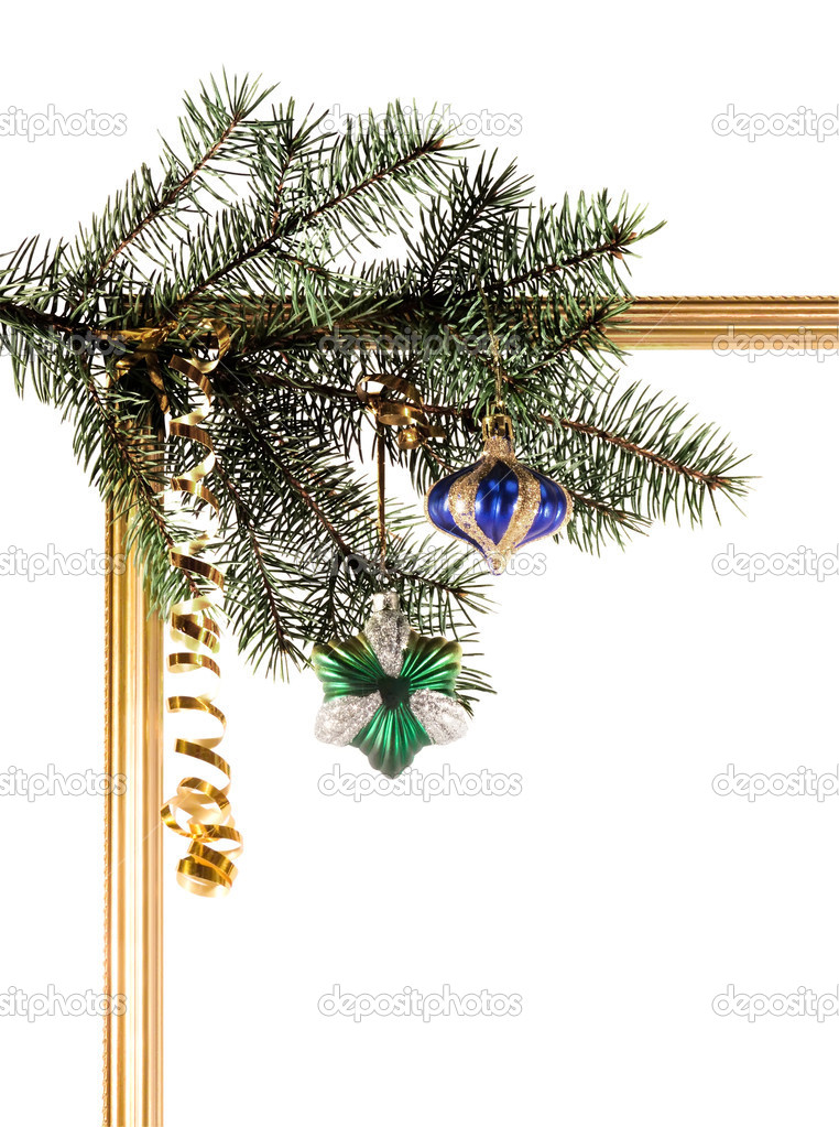 New-year borders with fir-tree on white background  Stock Photo #1099173