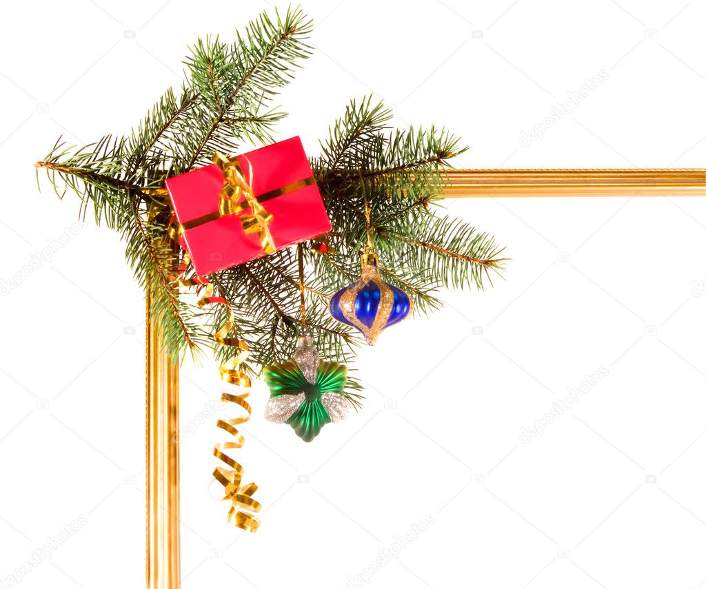 New-year borders with fir-tree on white background — Stock Photo #1099208