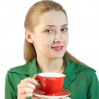 Girl with red cup — Stock Photo
