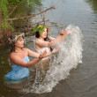Playing girls in river — Stock Photo