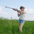 Aiming girl — Stock Photo #1130584