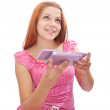 Girl with cosmetics box — Stock Photo