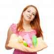 Girl with toilletries — Stock Photo