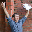 Happy builder with documents — Stock Photo