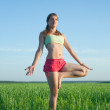 Young girl doing yoga against nature — Stock Photo