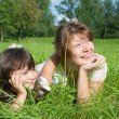 Royalty-Free Stock Photo: Mother with daughter on meadow