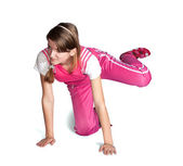 Sporty girl in pink gym clothes. Isolate — Stock Photo