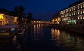 Moika řeka v noci — Stock fotografie