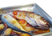 Closeup of grilled fishes on the griddle — Stock Photo