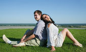 Young couple in love outdoors — ストック写真