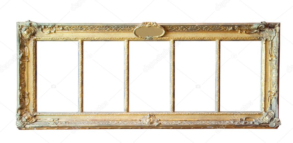 Vintage gold picture frame isolated with clipping path — Stock Photo #1182382