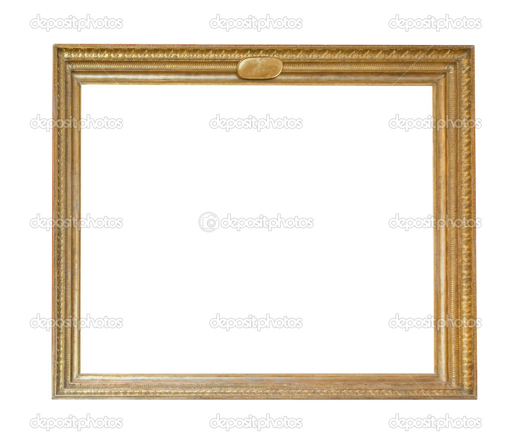 Vintage gold picture frame isolated with clipping path — Stock Photo #1182418