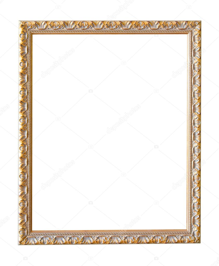 Vintage gold picture frame isolated with clipping path — Stock Photo #1183196
