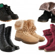 Set of different wintry boots — Stockfoto