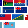 Flags of all Pacific basin countries and — Stock Photo