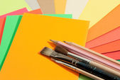 Stationery on colored papers — Stock Photo