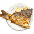 Royalty-Free Stock Photo: Carp fish  on the white plate