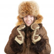 Girl in sheepskin and fox hat — Stock Photo #2106504