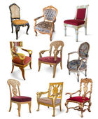 Vintage chairs over white — Stock Photo