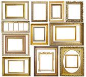 Sada ročník zlaté fotorámeček — Stock fotografie