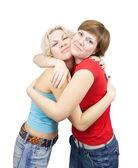 两个快乐女孩的肖像 — 图库照片