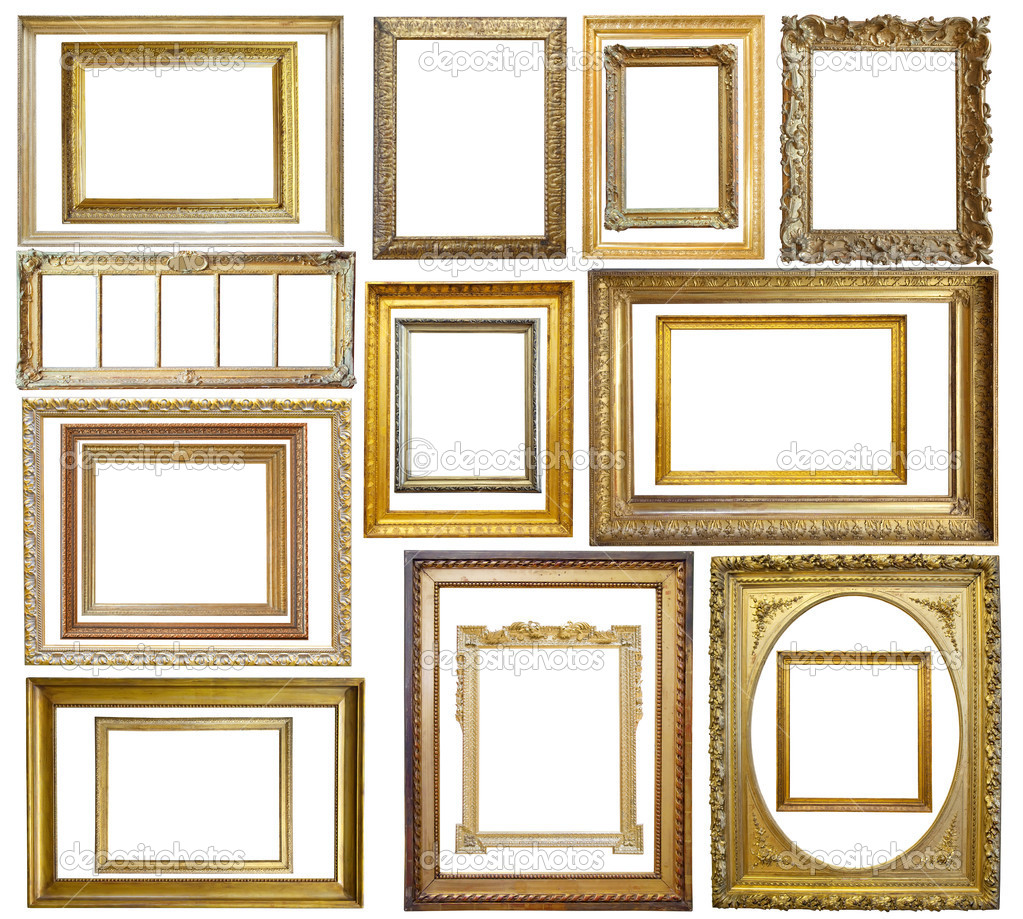 Set of  20 Vintage gold picture frame, isolated with clipping path — Stockfoto #2105103