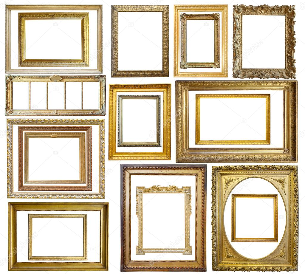 Set of  20 Vintage gold picture frame, isolated with clipping path  Zdjcie stockowe #2105103