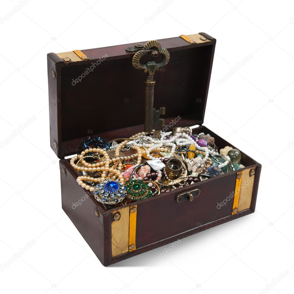 Wooden treasure chest with valuables and gem, isolated over white background — Stock Photo #2105740