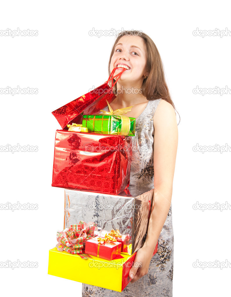 Happy  girl with coloured shopping present bags   Stock Photo #2108603