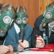 Businessmans in a gas mask — Stock Photo #2113807