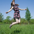 Stock Photo: Jumping teen girl