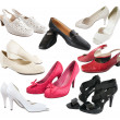 Stock Photo: Few isolated female shoes
