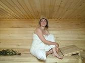 Young woman take a steam bath — Stock Photo