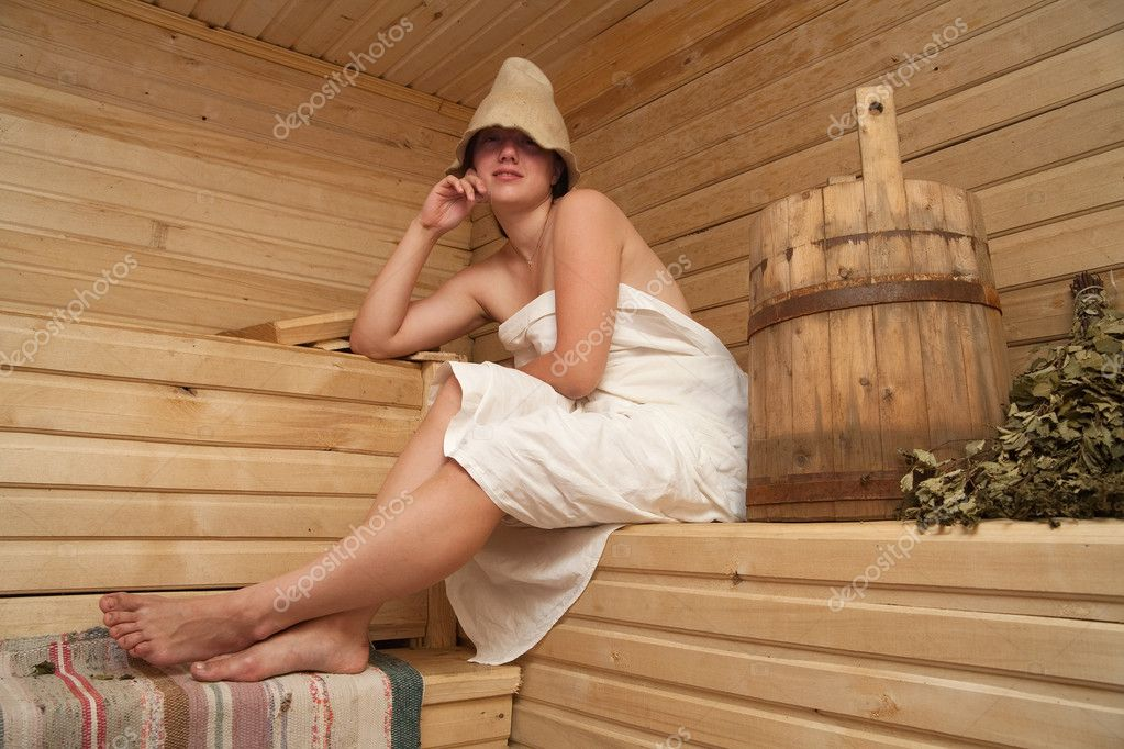 Young woman is taking a steam-bath  at sauna   Stock Photo #2118614