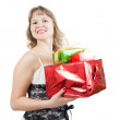Blonde woman with  gifts — Stockfoto