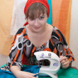 Sewing girl — Stock Photo