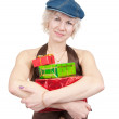 Girl holding coloured boxes — Stock Photo