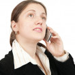 Female manager speaking by mobile — Stock Photo #2123607
