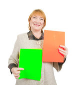 Smiling senior woman holding posts — Stock Photo