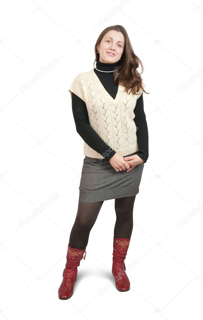 Isolated full length rear view studio shot of girl in  sweater and high shoes — Stock Photo #2123622
