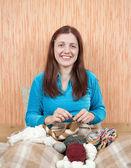 Knitting woman — Stock Photo