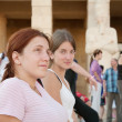 Stock Photo: Tourists against Temple of Hatshepsut