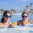 Girls relaxing at resort hotel — Stock Photo #2141521