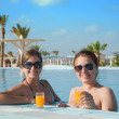 Girls with orange juice at resort hotel — Stock Photo