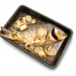 Stock Photo: Grilled carp fish on cook griddle