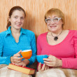 Stock Photo: Two women have tea