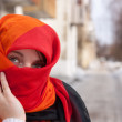 Stock Photo: Girl in red purdah