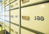 Vintage safe deposit boxes — Stock Photo