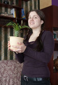 Girl with cactus — Stock Photo
