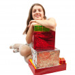 Girl with present boxes — Stock Photo #2154823